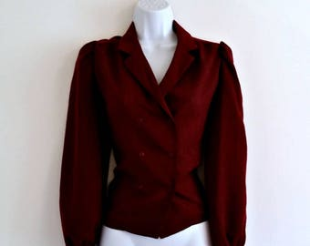 Vintage Burgundy Red Top 60s Double-Breasted - Size S, Buttons Top, Button Up Down, Dark Small, Gathered Shoulder, Long Sleeves Sleeved
