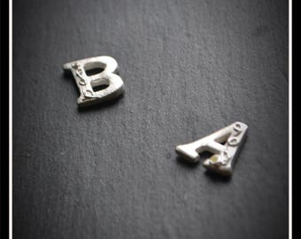 Detailed Initial CZ Pendant/Keyring - Silver Precious Metal Clay (PMC), Handmade, Necklace, Keyring - (Product Code: ACM042-17)