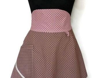 Lady vintage apron Scarletts' Sister  Dames retro schort - cotton - double layered - half apron