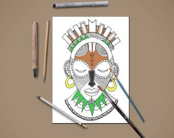 African mask coloring page,Coloring page for kids and adults,Instant download coloring page,anxiety coloring,printable coloring page