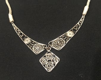 Handmade 925 Sterling Silver Filigree Necklace