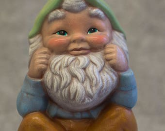 Hand-Painted Sitting Garden Gnome Figurine