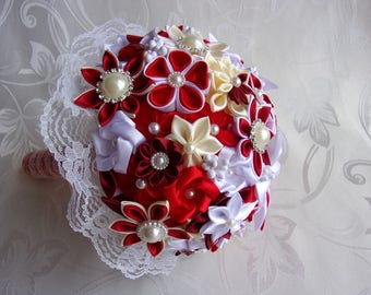 Wedding bouquet in red and white satin and lace with kanzashi flowers