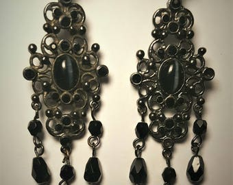 Items similar to Victorian Gothic BLACK CHANDELIER EARRINGS ...