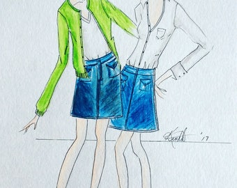 Fashion Illustration two fashionistas  in a White tee shirt with navy skirt