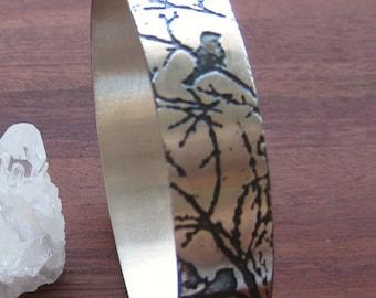 Stirling Silver Etched Birds on a Branch Bracelet