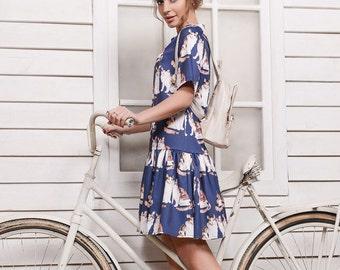 women dress summer dress beach dress cotton dress blue dress mini dress casual dress Dress Cat Dress spring summer dress cat dresses dresses