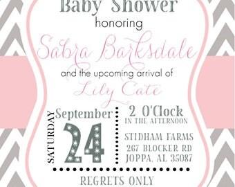 Swirly Girly Baby Shower Invitation