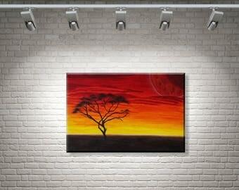 Acacia | Fantasy mural | Acrylic on canvas 40 x 60 cm