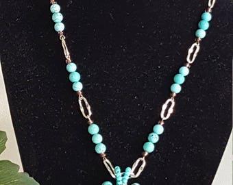 Turquoise gemstone pendant necklace