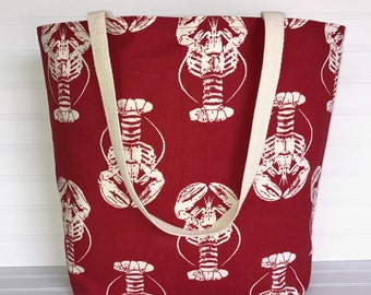 Handmade Everyday Tote | Beach Bag | Red Lobster Tote