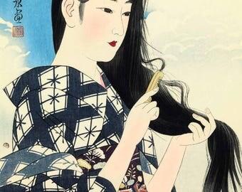 "Japanese Art Print ""Washed Hair"" by Shinsui Ito, woodblock print reproduction, fine art, asian art, cultural art"