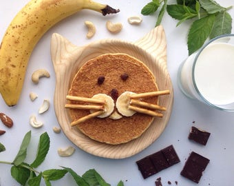 Wooden plate, natural Plate for children, wooden dish, cat