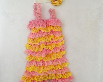 Pink and yellow ruffled romper