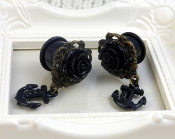 Vintage Black Rose and Anchor Plugs 5-16mm