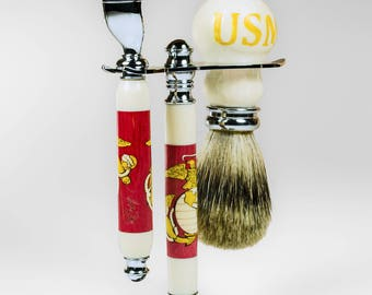 Marine Corps Shaving set. Made from dyed curly maple inlay