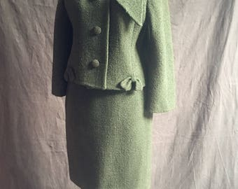 1950s Olive Green Boucle suit