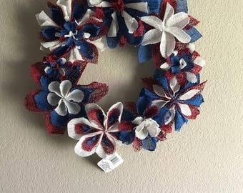 4th of July burlap flores Wreath