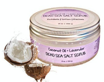 Natural Dead Sea Salt Scrub | Coconut Oil + Lavender | 8oz. | Exfoliator | Face & Body | Natural Moisturizer | Organic