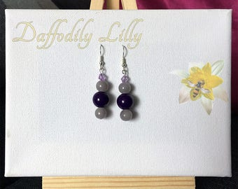 Purple and Grey Earrings