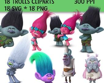 18 Trolls Clip Art, Trolls SVG, Trolls PNG, 300 ppi, Trolls Decorations, Trolls Printable