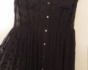 womens maxi black sheer polka dot dress