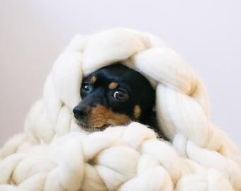Giant Thick Yarn Merino Wool Blanket/Плед из толстой пряжи мериноса