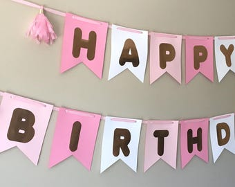 Happy Birthday Banner with Tassels or PomPoms! Available in Pink, Purple, and Blue