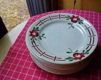 "9 Tea Plates- Vintage French Digoin Sarreguemines ""Castille"" plates"