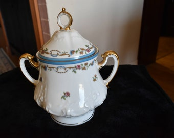 Vintage exquisite hand painted Limoges French sugar lidded pot