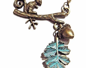 Bronze Squirrel in Oak Tree Necklace with Acorn & Leaf Charms 1R