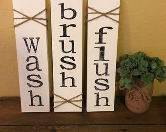 Rustic Bathroom Wall Decor wash brush flush wood sign bathroom wall decor bathroom art