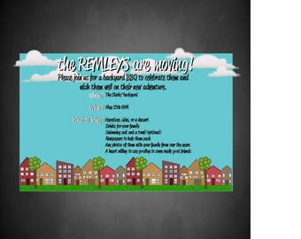 This is a completely customizable going away party invitation for a neighbor that is perfect for all ages.