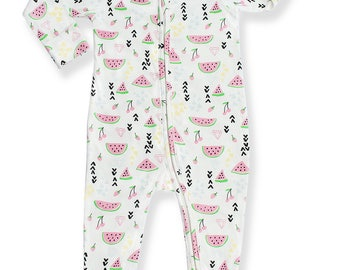 Baby Boys Girls Pajammie Zipsuit Watermelon Delight Bamboo Organic Cotton Footed Footie Pajamas PJs Sleeper Onesie Romper