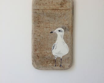 Hand painted acrylic seagull on unique textured driftwood  'Seagull Mafia'