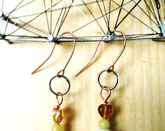Serpentine, Faux Pearl, and Copper earrings