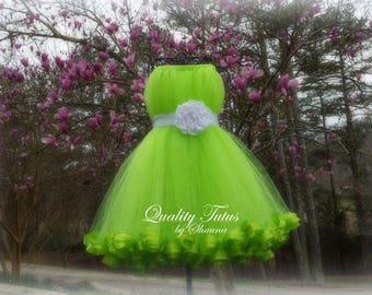 White on Lime Sleeveless Junior Bridesmaid Dress