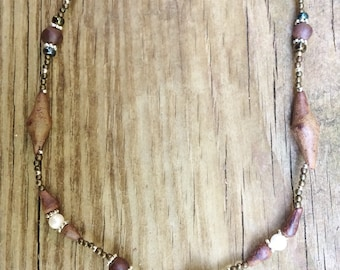 Ceramic pearl beaded necklace