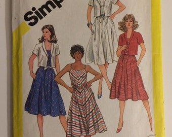 5845 Simplicity Misses' Semi-Fitted Bias Sundress & Unlined Jacket - size 12