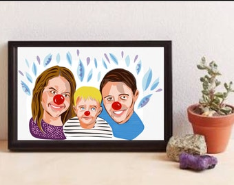 Custom made illustrated clown family/friend portraits