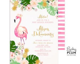Luau Baby Shower Invitation / Tropical Baby Shower Invitation / Flamingo Baby Shower Invitation / Pineapple Baby Shower Invitation Coed