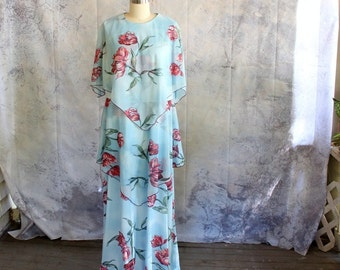 """plus size vintage dress with attached capelet . blue floral maxi dress, full floor length dress with flutter scarf cape . waist size 39""""-42"""""""