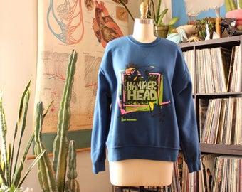 vintage 1980s Hammer Head sweatshirt . blue Hammerhead sweatshirt unisex shirt, mens medium, womens large xl