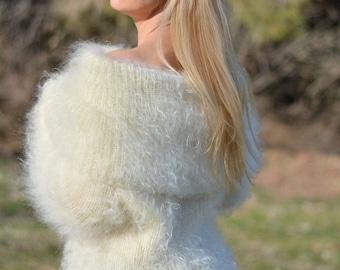 READY handmade mohair sweater handknit cowlneck sweater fuzzy jumper soft pullover off-shoulder sweater fuzzy pullover airy Fine Dukyana