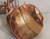 1980's Bronze SNAKESKIN Leather Bag, CROSSBODY DISCO Purse, 80s Shoulder Strap Purse