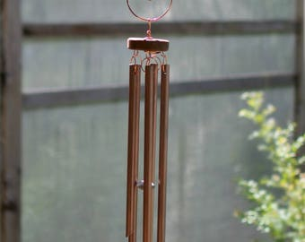 Wind Chimes Sea Glass Large Copper Chimes beach glass stained glass windchime suncatcher