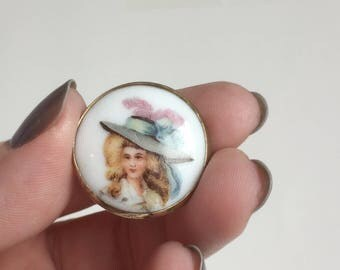Gold Portrait Brooch, Edwardian Lady, Blonde Hair, Blue Hat, Lavender Feather, White Porcelain, Gold Fill Circle C-Clasp, Vintage Antique