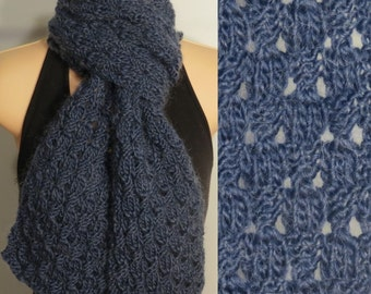 Hand Knit Scarf Lace Wool Mohair blue