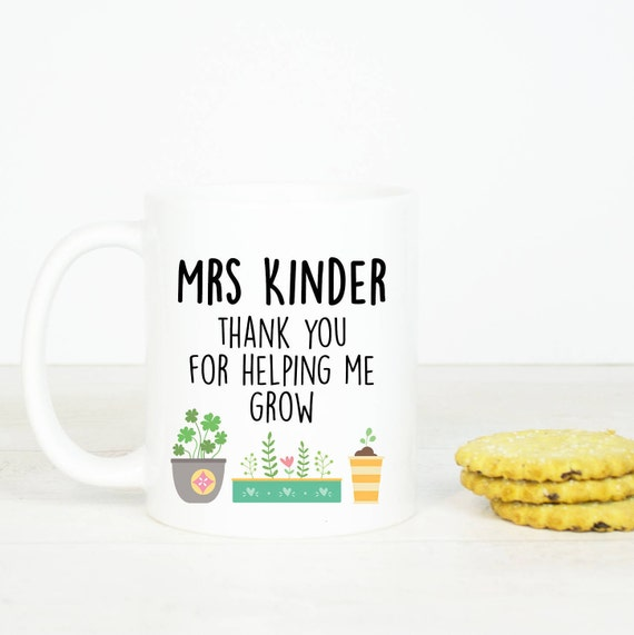 Personalised Teacher mug, Thank you for helping me grow coffee mug, lovely teacher gift, sweet present