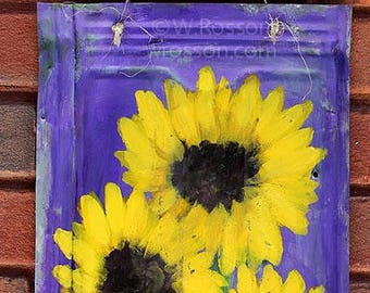 Sunflowers, Sunflower Painting, Original Painting, Garden Art, Patio Decor, Home Decor, Office Art, Wall Hanging, Wall Art, Winjimir, Art